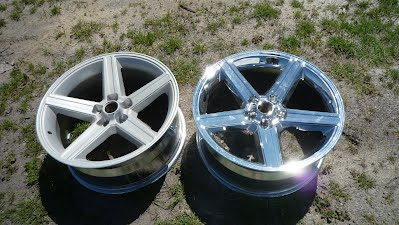 Chome removal off rims After / Before