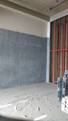 Paint removed off concrete wall